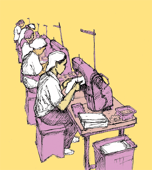 women sit in a row and sew on sewing machines