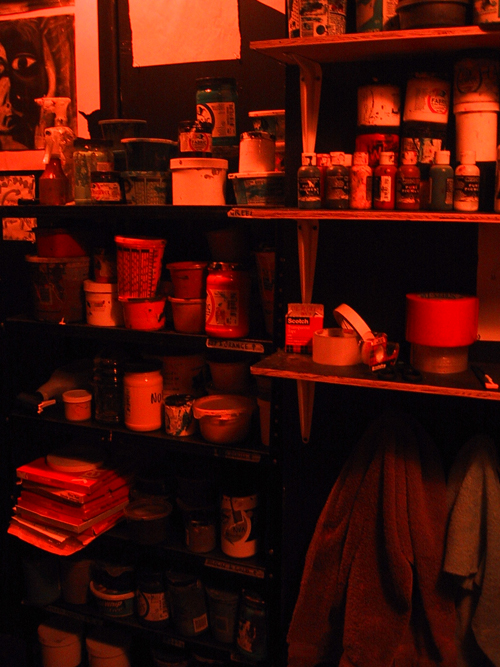 shelves piled high with ink & supplies