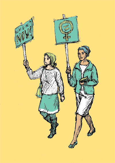 two women walk down the street with feminist protest signs