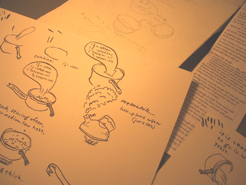ink on bristol board drawing bread-making steps