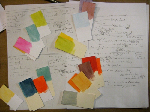 sheets of paper with color notes and color swatches