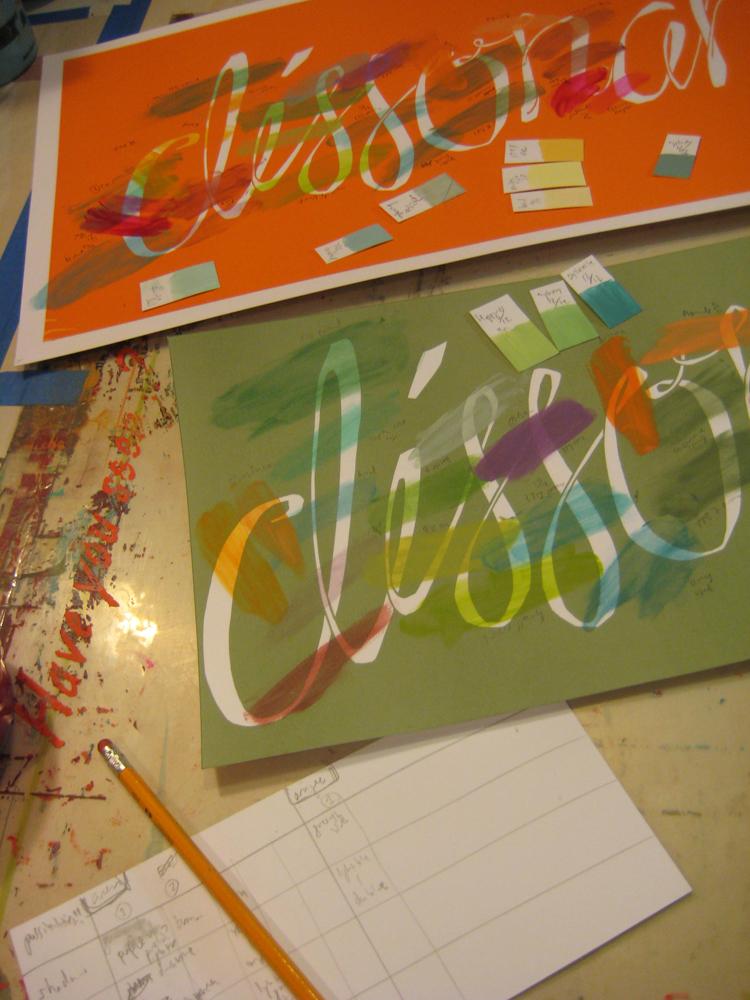 color testing for script font print