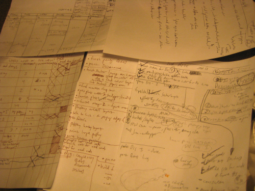 lists of scribbled handwriting