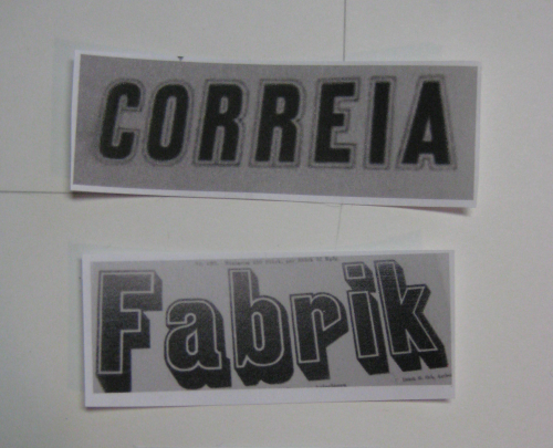 "two words, ""correia"" and ""fabrik"", in 1920's letters"