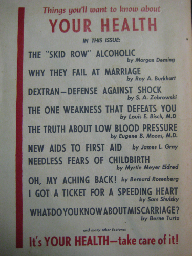 "the back cover of an old magazine titled ""your health"", with the titles of articles"
