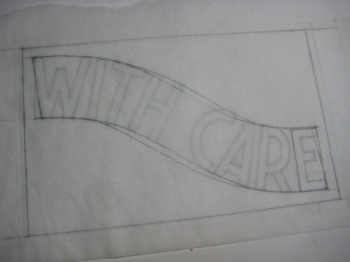 a drawing of letters with overlapping curving guidelines