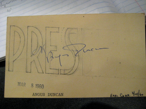 "an index card with illegible handwriting on it and the large letters ""PRES"""