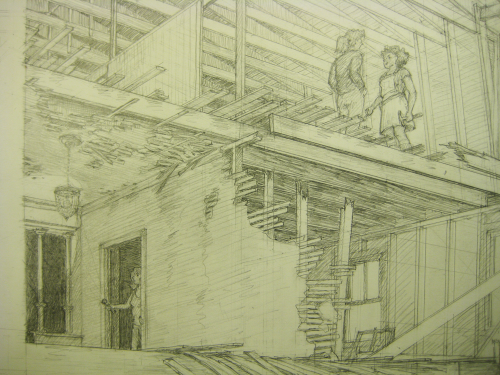 drawing of two people standing under a sloping roof having a conversation