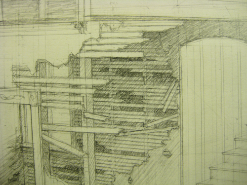 drawing of broken lath-&-plaster walls with the plaster crumbling & the lath sticking out at odd angles