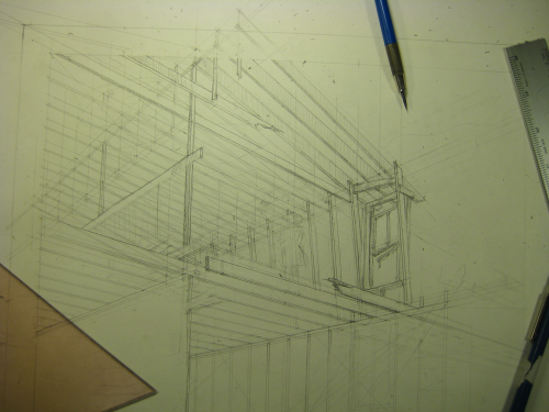 architectural drawing of roof beams under construction