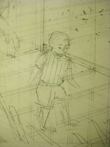 in-progress partial drawing of a child